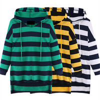 Loose Cotton Striped Sweatshirt Hoodie