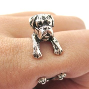 3D Boxer Puppy Animal Wrap Ring in Shiny Silver - Sizes 4 to 8.5 from DOTOLY