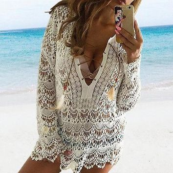 White Lace Crochet Beach Cardigan