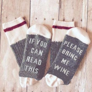 1 Pair Unisex Women Men Socks If You can read this Bring Me a Glass of Wine Funny Letter Print Contract Color Socks Fall Winter