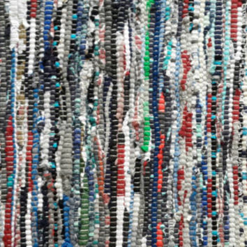Large Rag Rug / Blue Green Scraps / 6' Area Rug / Hand Woven Chindi / Beautiful Colors Cotton Hippie Rag Rug / In Stock Vegan FREE SHIPPING