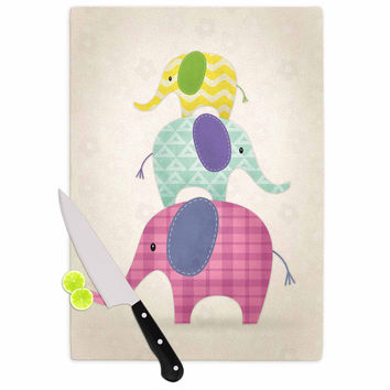 """Noonday Design """"Balancing Act """" Multicolor Kids Cutting Board"""