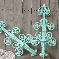 Shabby Chic Candle Sconces, Mint Green, Green, Wedding Decor,  Hollywood Regency, Hand Painted, Vintage, Homco, Syroco