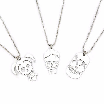 Suicide Squad Harley Quinn and Joker Stainless Steel Necklaces