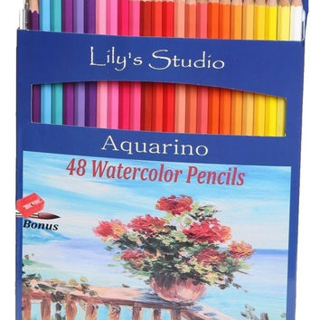 Lily's Studio 48 Colored Pencils for Adult Coloring and Drawing BONUS Paint B...