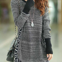 Casual Scoop Neck Long Sleeve Letter Pattern Sweater
