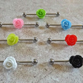 Industrial Barbell Rose Flower  Body Piercing Choose Your Color