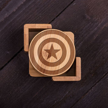 Wooden Coasters, Captain America Fan, Wood Burned, Custom Bamboo Wedding gift for Couple, Shower, Corporate Gift Kitchen Decor #5040