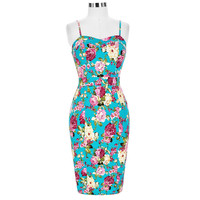 Floral Print Women Dress Sexy Summer Bodycon Pencil Dresses Pinup Rockabilly 50s Vintage Dress Cocktail Party Club Gown Vestidos