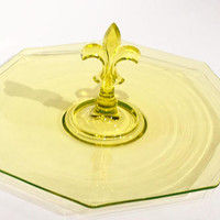 Yellow Vaseline Glass Center Handle Tray, Fleur De Lis Handle Tidbit Tray, Cupcake Plate