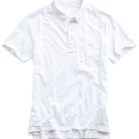 Weathered Button Pocket Polo in White