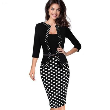 Women Faux Jacket One-Piece 1950s Retro Polka Dot Contrast Patchwork Wear To Work Office Business Sheath Dress EB407