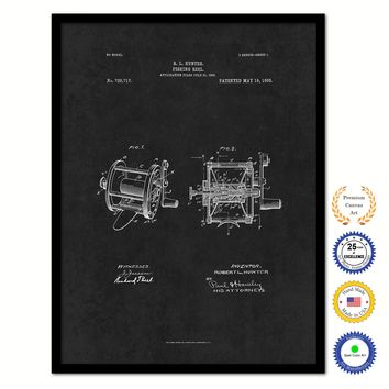 1903 Fishing Reel Vintage Patent Artwork Black Framed Canvas Home Office Decor Great for Fisherman Cabin Lake House