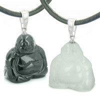 Happy Buddhas Best Friends Amulets Energy Black Agate White Quartz Pendant Necklaces