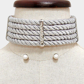 "14"" silver twisted rope wide collar bib choker necklace .30"" earrings chunky"