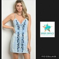 Embroidered Lace Up Denim Dress