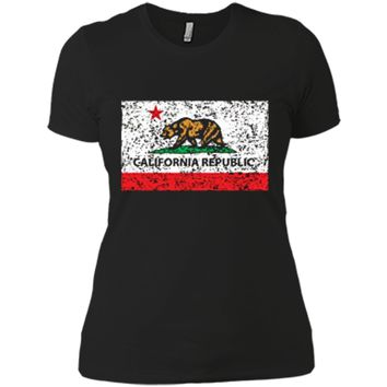 California Republic Cali Flag T-Shirt Socal Norcal Cencal T Next Level Ladies Boyfriend Tee