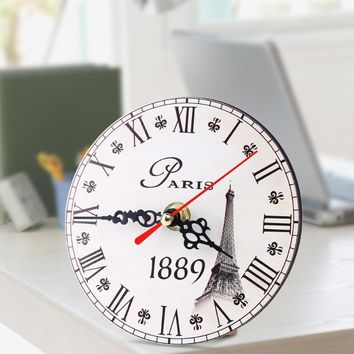 Vintage Wooden Wall Clock, Large Shabby Chic Rustic Kitchen Home Antique European Style.