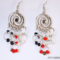 Antique double spiral earrings - Silver finish  with red,black,gold and white glass beads-Lightweight earrings-Handmade earrings