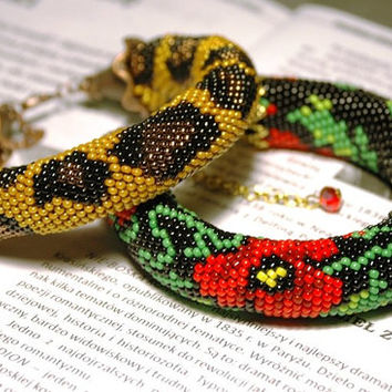 Beaded hand bracelet leopard gold yellow red poppy flowers green czech beads weaving