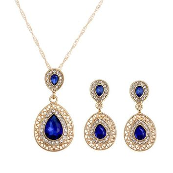 """SUSENSTONE"" Women's Crystal Necklace Earrings 2pc set"