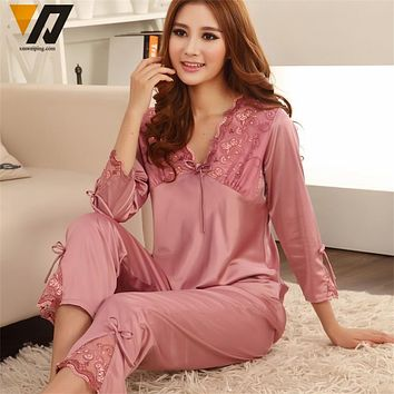 Womens Silk Satin Pajamas Set Pajama Pyjamas Set Sleepwear Loungewear M, L, XL, 2XL, 3XL Plus Solid 5Colors Accept Customized