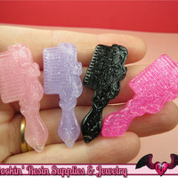 4 pc GLITTER BRUSH / COMB Large Girly Kawaii Cabochons 41x15mm