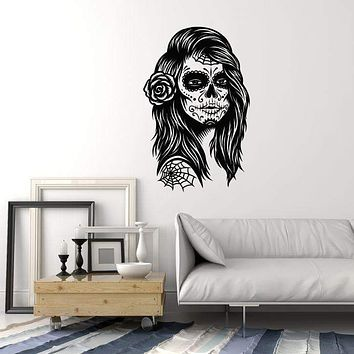 Vinyl Wall Decal Calavera Skull Girl Woman Mexico Mexican Art Day of the Dead Stickers Mural Unique Gift (ig5126)