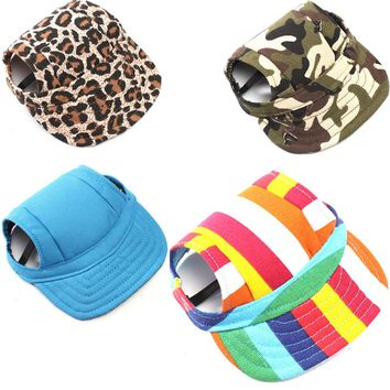 Dog Baseball Hat Summer Canvas Cap With Ear Holes For Small Pet Dog Cats Outdoor Accessories Outdoor Hiking Sports Pet Products
