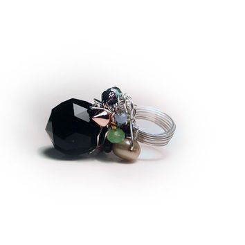 Oversized Black Cocktail Crystal Ring & Freshwater Pearls