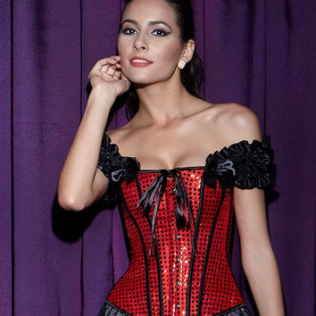 Red Ruffled Off Shoulder Corset