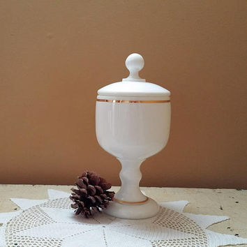 Vintage Milk Glass Pedestal Jar Druggist Candy Dish