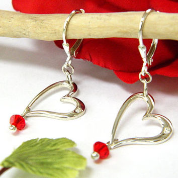 Silver Earrings, Heart Earrings, Diamond Earrings, Short Dangle, Valentine Jewelry, Handcrafted Earrings, Red Crystal, Silver Heart