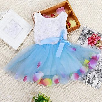 New Toddler Baby Kid Girls Princess Party Tutu Lace Bow Flower Dresses Clothes