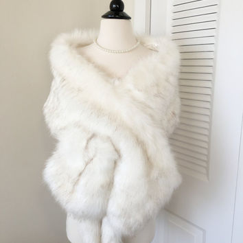Ivory Faux Fur Wrap, Ivory Fur Shawl, Fur Coat, Fur Shrug, Fur Stole, Fur Cape, Wedding Bridal Faux Fur Wrap Shawl Coat Shrug Stole Cape