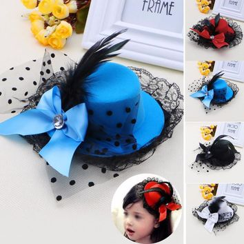 Women Girl Bow Hair Clip Lace Feather Mini Top Hat Fascinator Fancy Party Dress #C69U# Drop ship