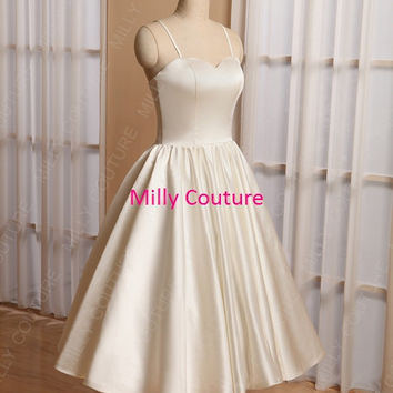 rockabilly wedding dress, simple wedding dress short, vintage wedding dress tea length, 1950's dress 50s wedding, wedding dress 1950,
