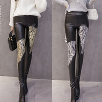 Buy Renara Sequined Wing Faux Leather Leggings | YesStyle