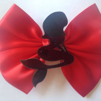 Black Glitter Mermaid Hair Bow Red The Little Mermaid Disney Inspired Goth Gothic Glitter Emo Ariel
