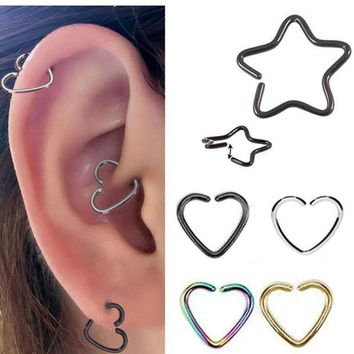 ac PEAPO2Q 2Piece 16G 1.2mm Star Heart Shape Earring Tragus Piercing Helix Labret  Anodized Seamless Endless Tragus Cartilage Hoop Ring