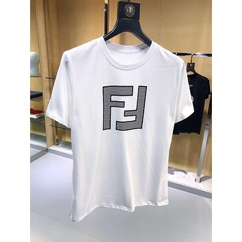 FENDI Fashion Casual Double F Letter T-Shirt Top Tee White