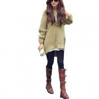 Lady 3/4 Batwing Sleeve Irregular Hem Hoodie Casual Knit Sweater