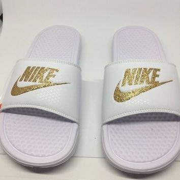 Custom White Nike Slides Sandals with Gold Glitter Sparkling Logo