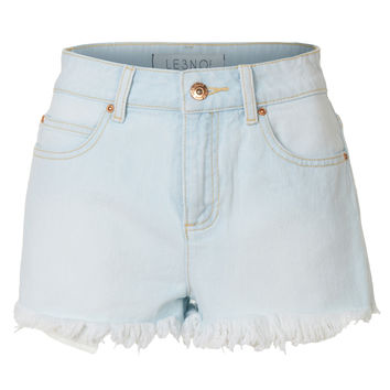 LE3NO Womens Washed Frayed Hem Vintage Denim Jean Shorts