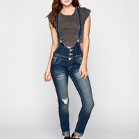 Almost Famous Womens Short Bib Denim Overalls Dark Blast  In Sizes