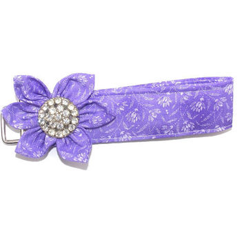 Key Chain, wristlet, Key Fob in Purple with  matching Kanzashi Flower with rhinestone center