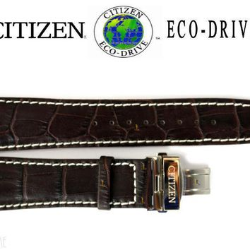 Citizen Eco-Drive BU2023-04E 23mm Brown Leather Watch Band Strap R005995