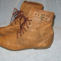 Vintage MIA Brown Brazilian Leather  PIXIE    Lace up  Buckle Steampunk GRANNY Booties  Boots Shoes 7M