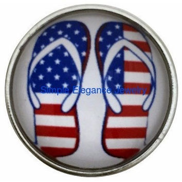 Flag Flip Flops Snap 20mm for Snap Charm Jewelry