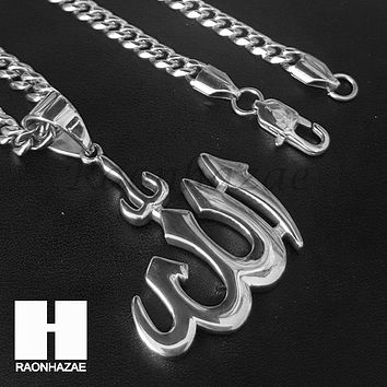 Mens Iced Out 316L Stainless steel Silver Muslim Islam Allah Pendant SS020